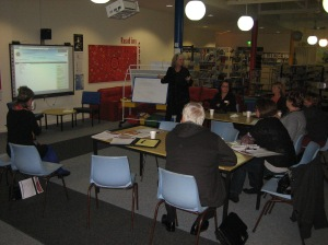 The design and content of the school's new website is discussed at a workshop during the P&C meeting.
