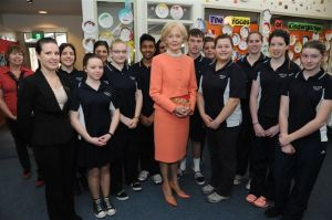 The Governor-General with the Hospitality Students.